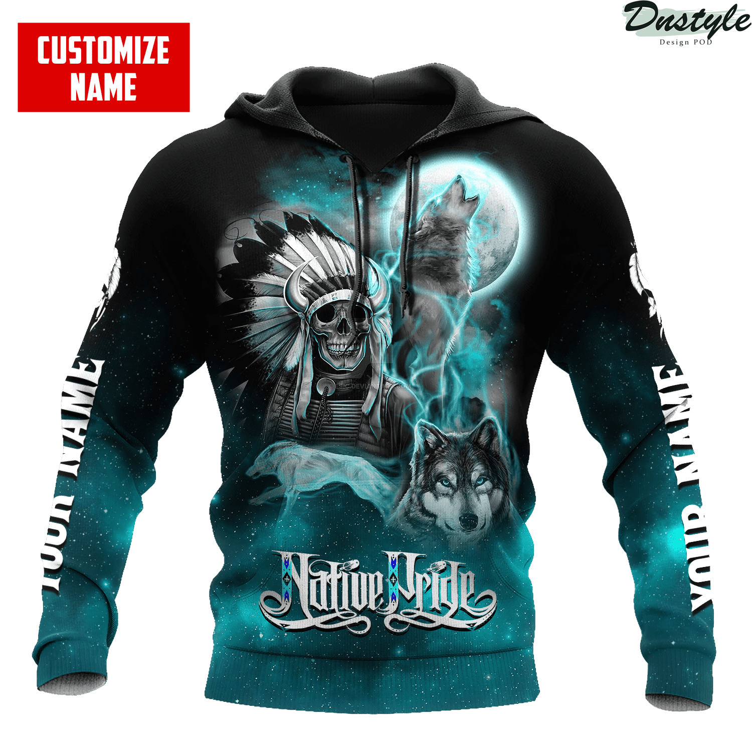Personalized skull and wolf smoke pattern native pride 3d printed hoodie