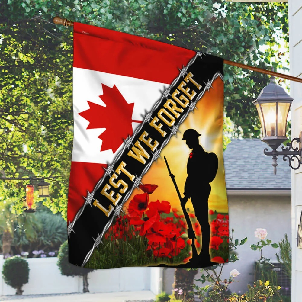 Remembrance Day Poppy Lest We Forget Canada Veteran Flag 1