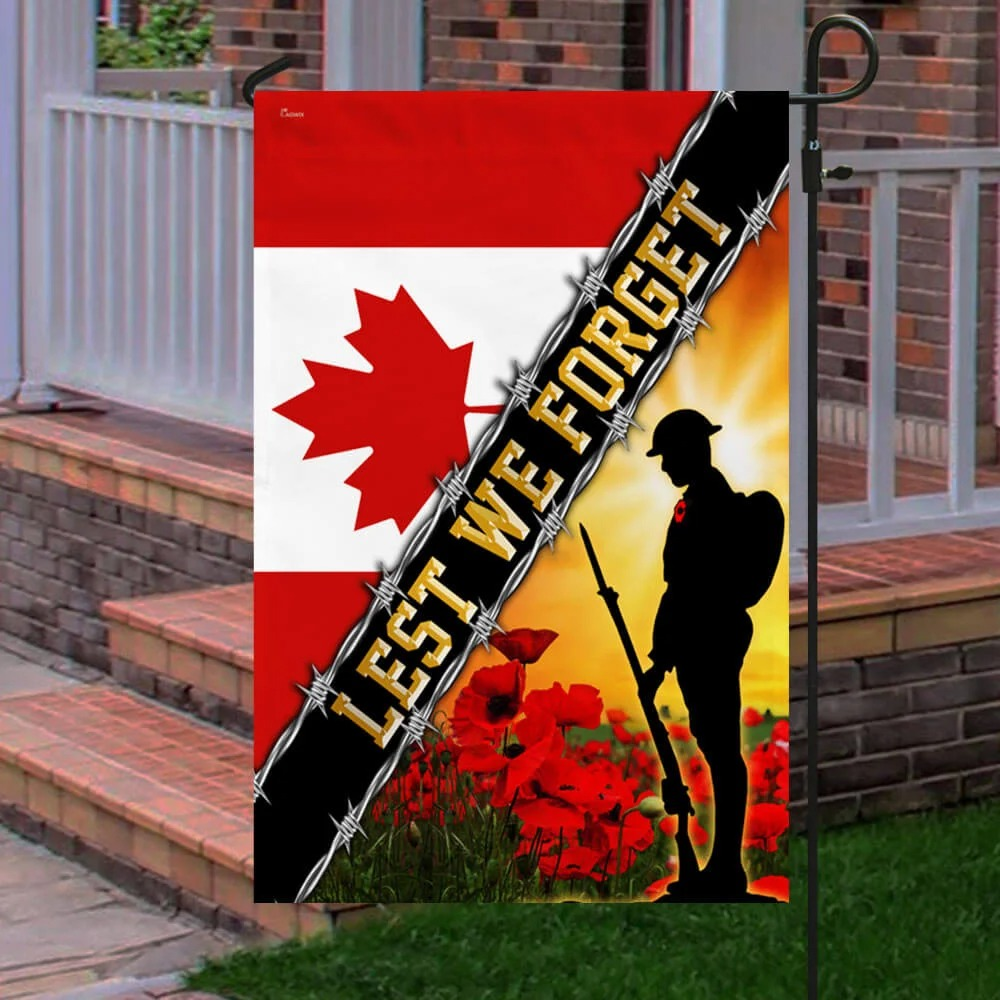 Remembrance Day Poppy Lest We Forget Canada Veteran Flag 3