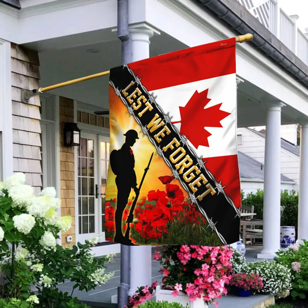 Remembrance Day Poppy Lest We Forget Canada Veteran Flag