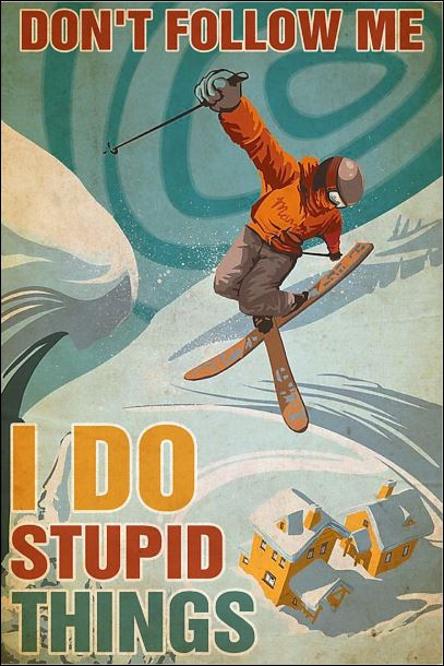 Skiing don't follow me i do stupid things poster