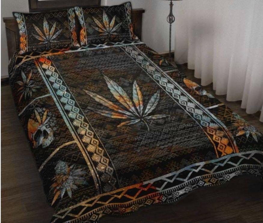 Skull cannabis vintage bedding set