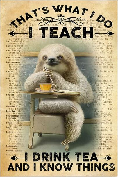 Sloth that's what i do i teach i drink tea and i know things poster