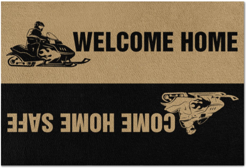 Snowmobile welcome home come home safe doormat