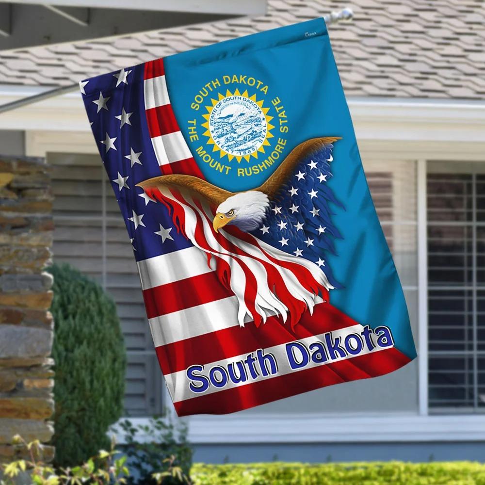 South Dakota the mount rushmore state eagle flag