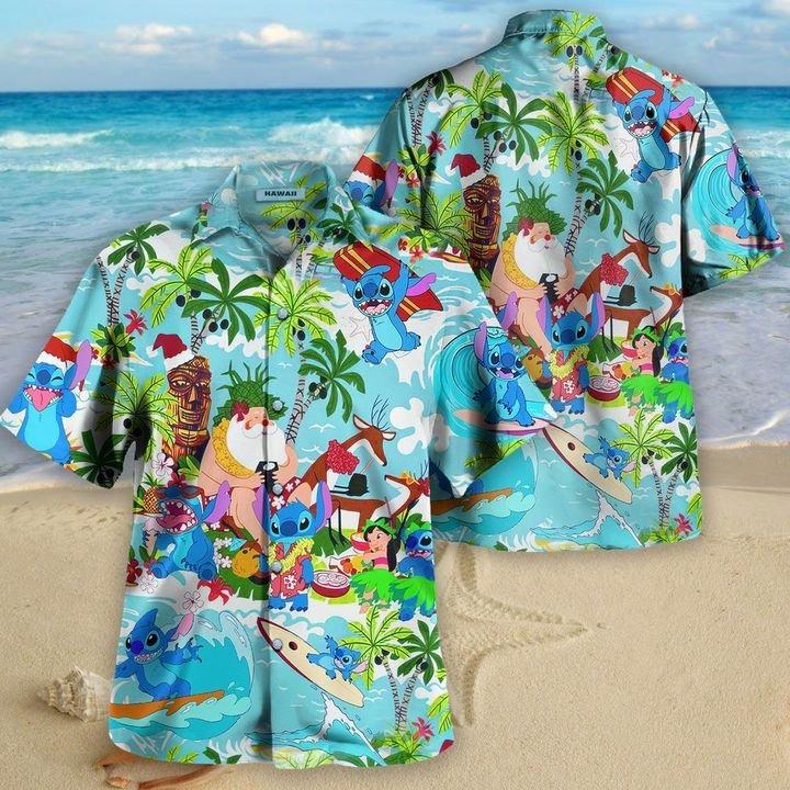 Stitch santa hawaiian shirt 2