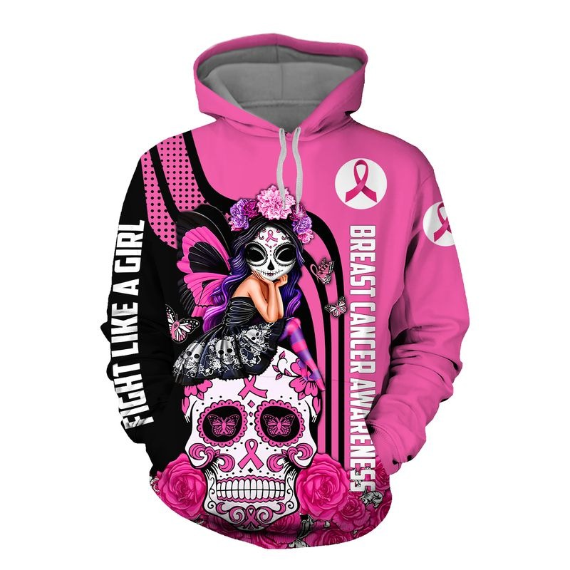 Sugar skull breast cancer awareness all over printed hoodie