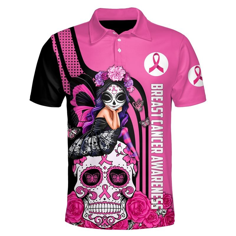 Sugar skull breast cancer awareness all over printed polo