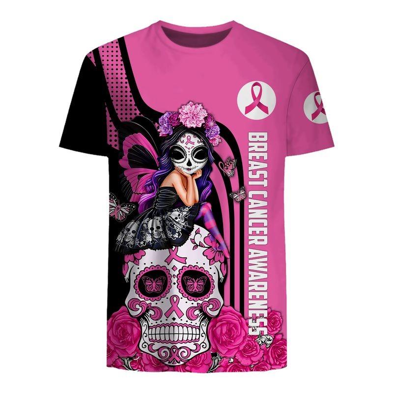 Sugar skull breast cancer awareness all over printed shirt