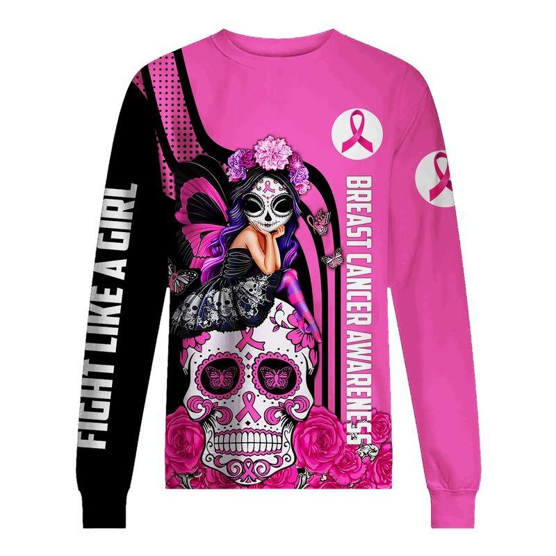 Sugar skull breast cancer awareness all over printed sweatshirt