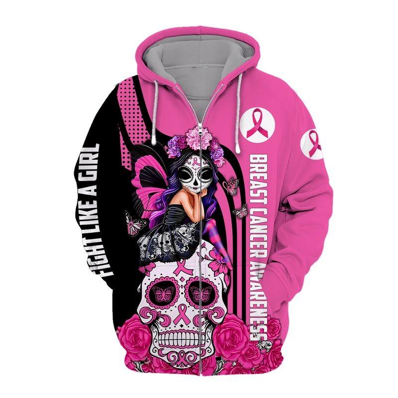 Sugar skull breast cancer awareness all over printed zip hoodie