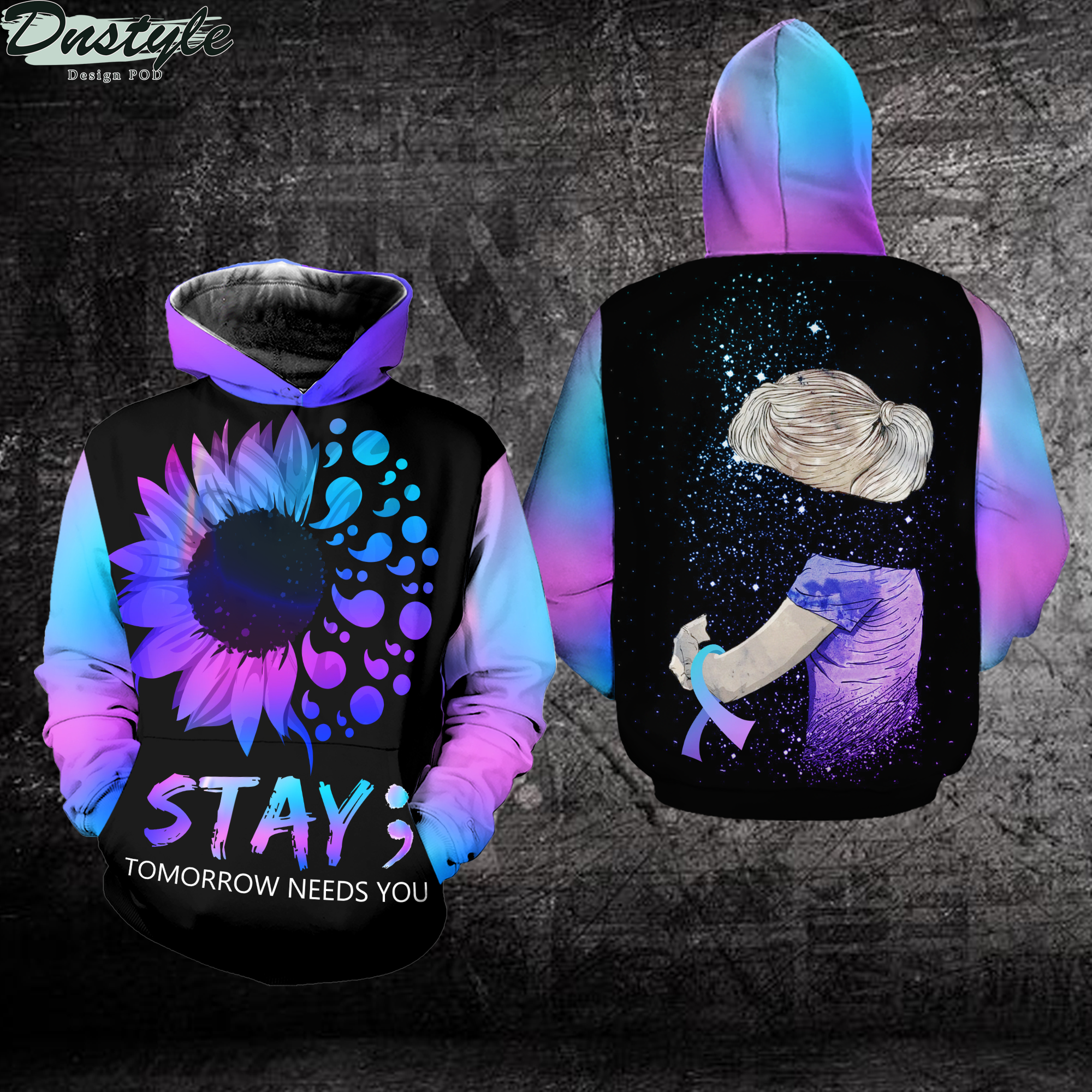 Suicide prevention awareness stay tomorrow needs you 3d printed hoodie