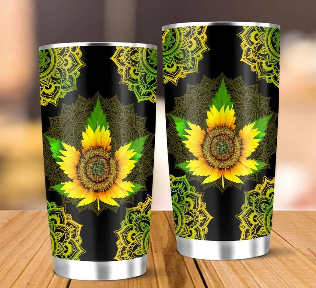 Sunflower Cannabis mandala tumbler