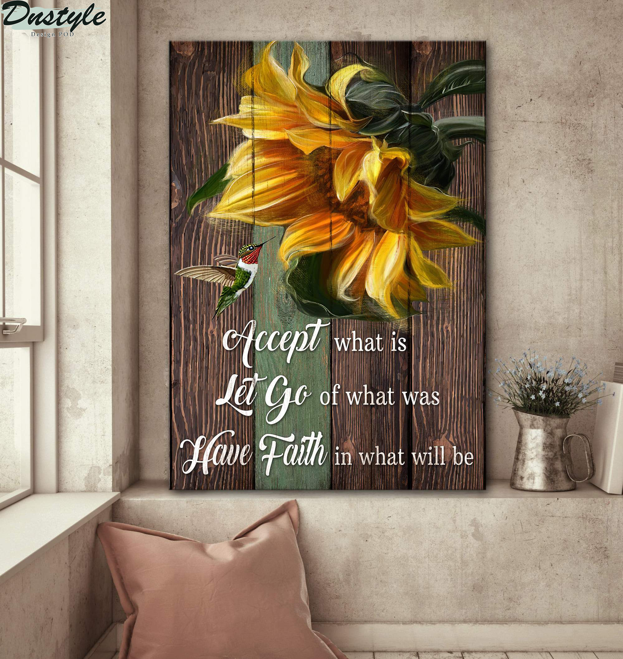 Sunflower with hummingbird have faith in what will be jesus canvas