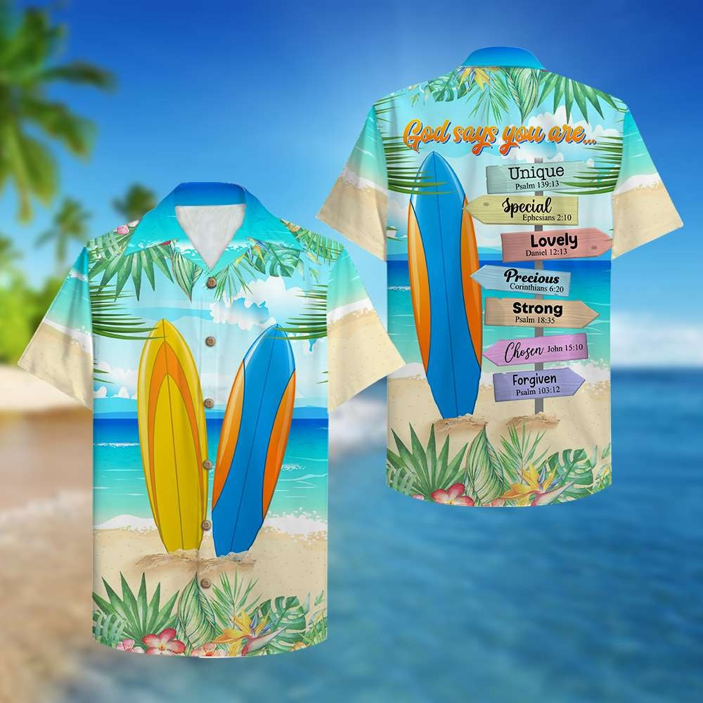 Surfing god says you are unique special hawaiian shirt 1