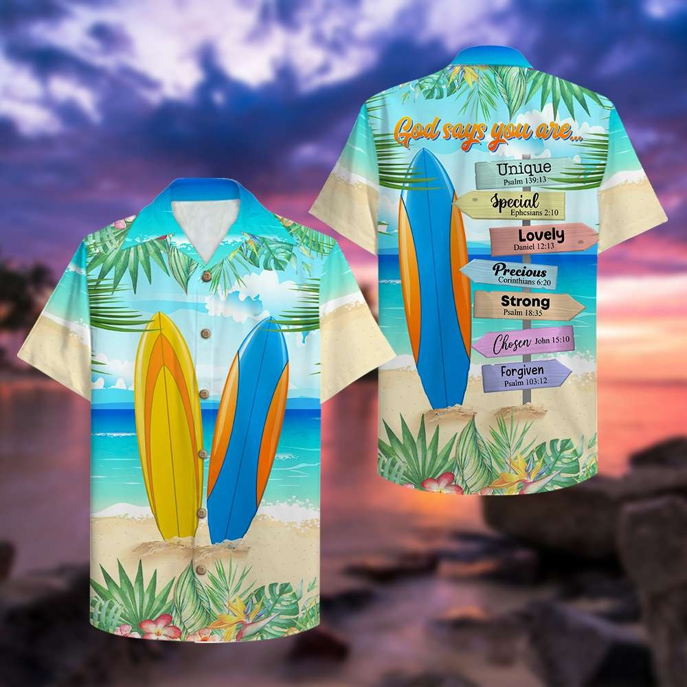 Surfing god says you are unique special hawaiian shirt 2