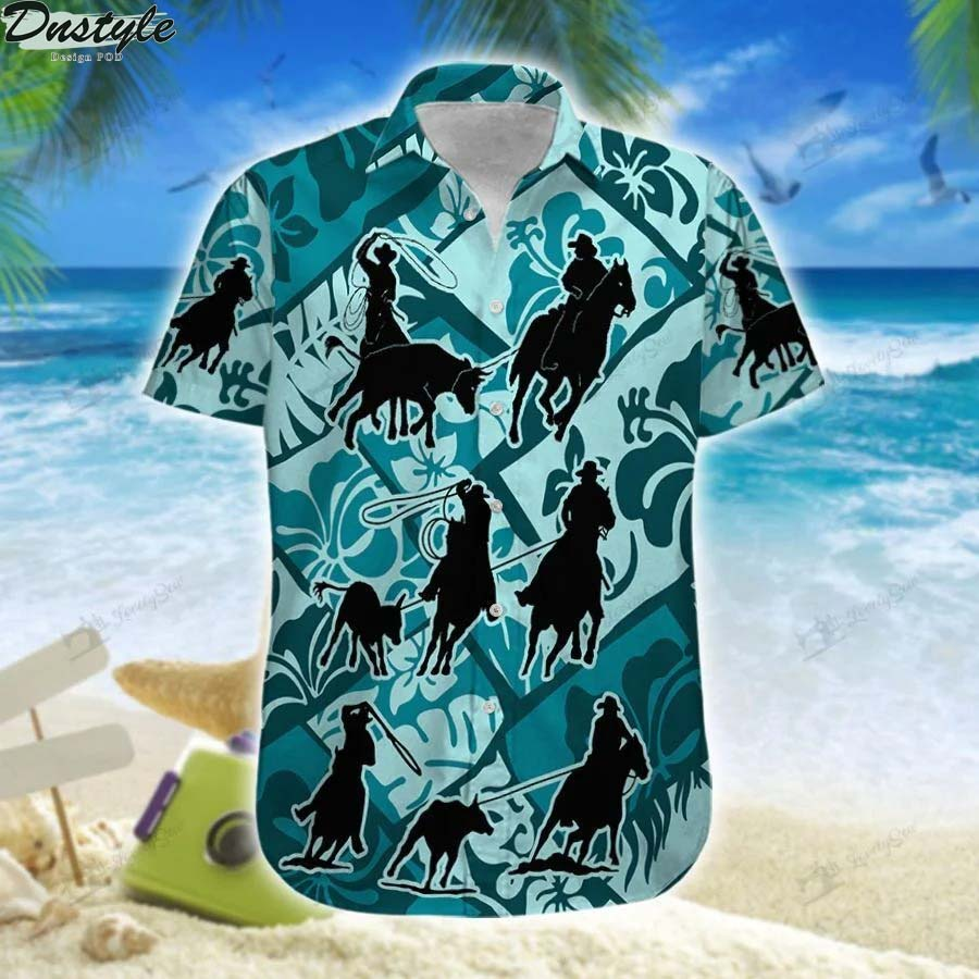 Team roping cross hawaiian shirt