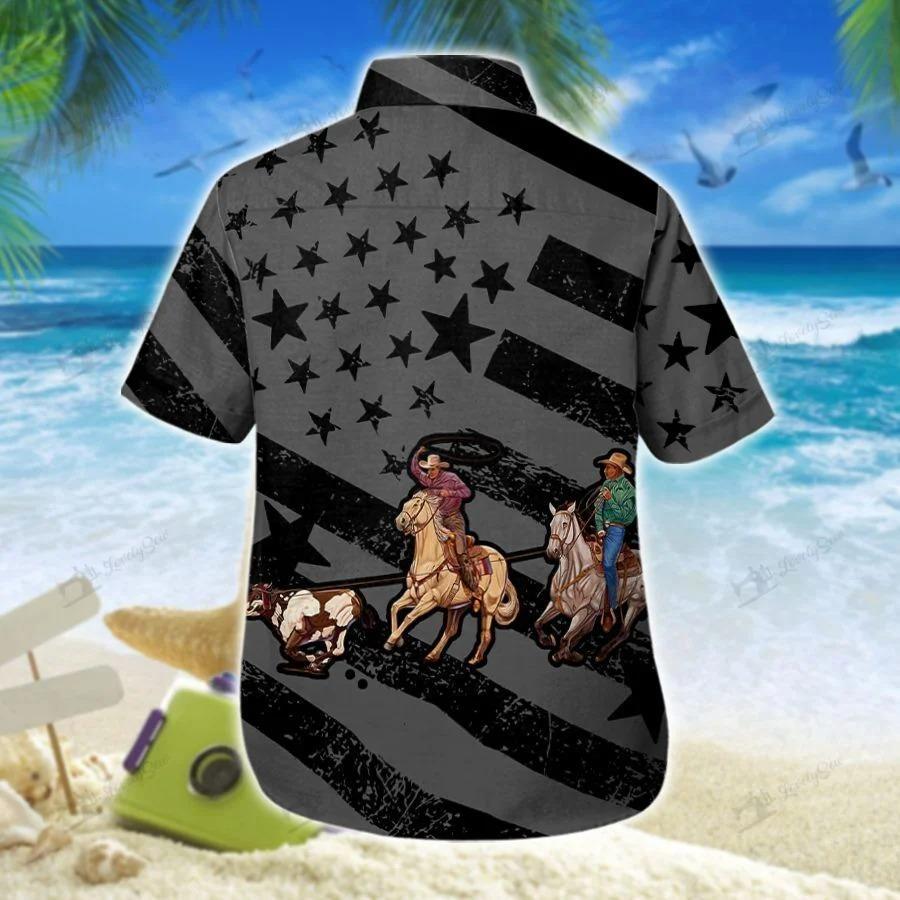 Team roping flag black hawaiian shirt 1