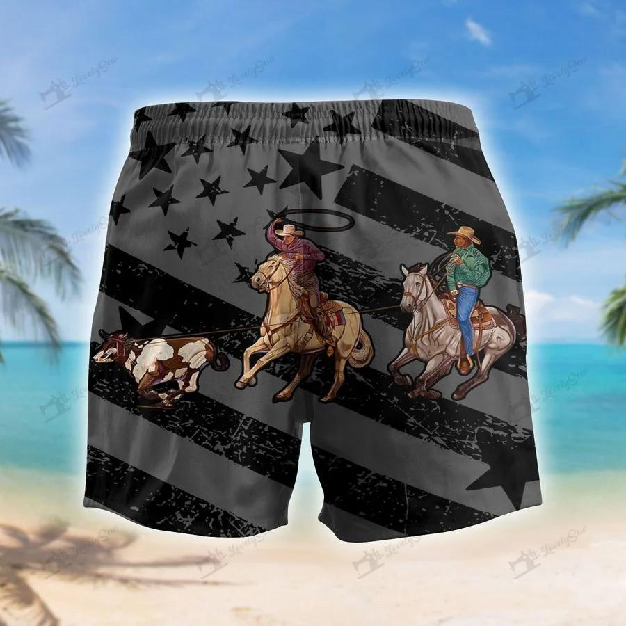Team roping flag black hawaiian short