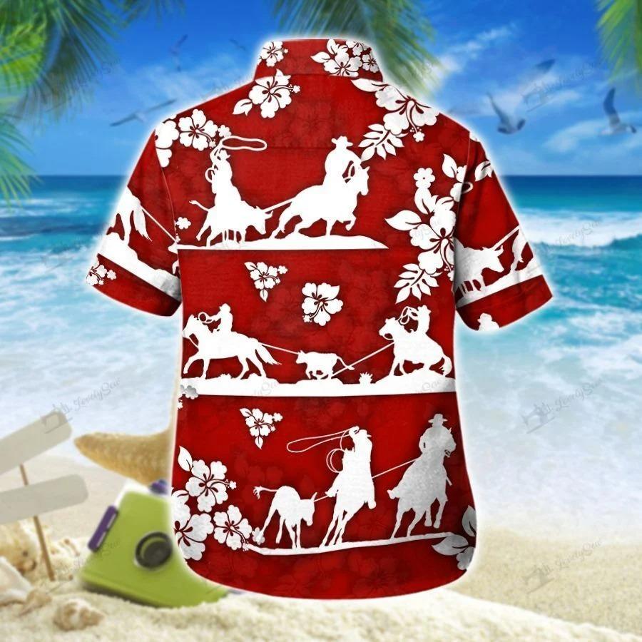 Team roping red hibiscus hawaiian shirt 1