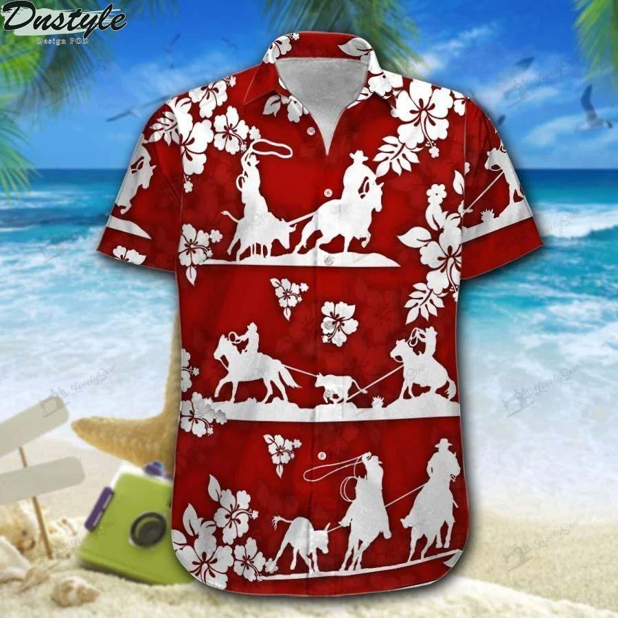 Team roping red hibiscus hawaiian shirt