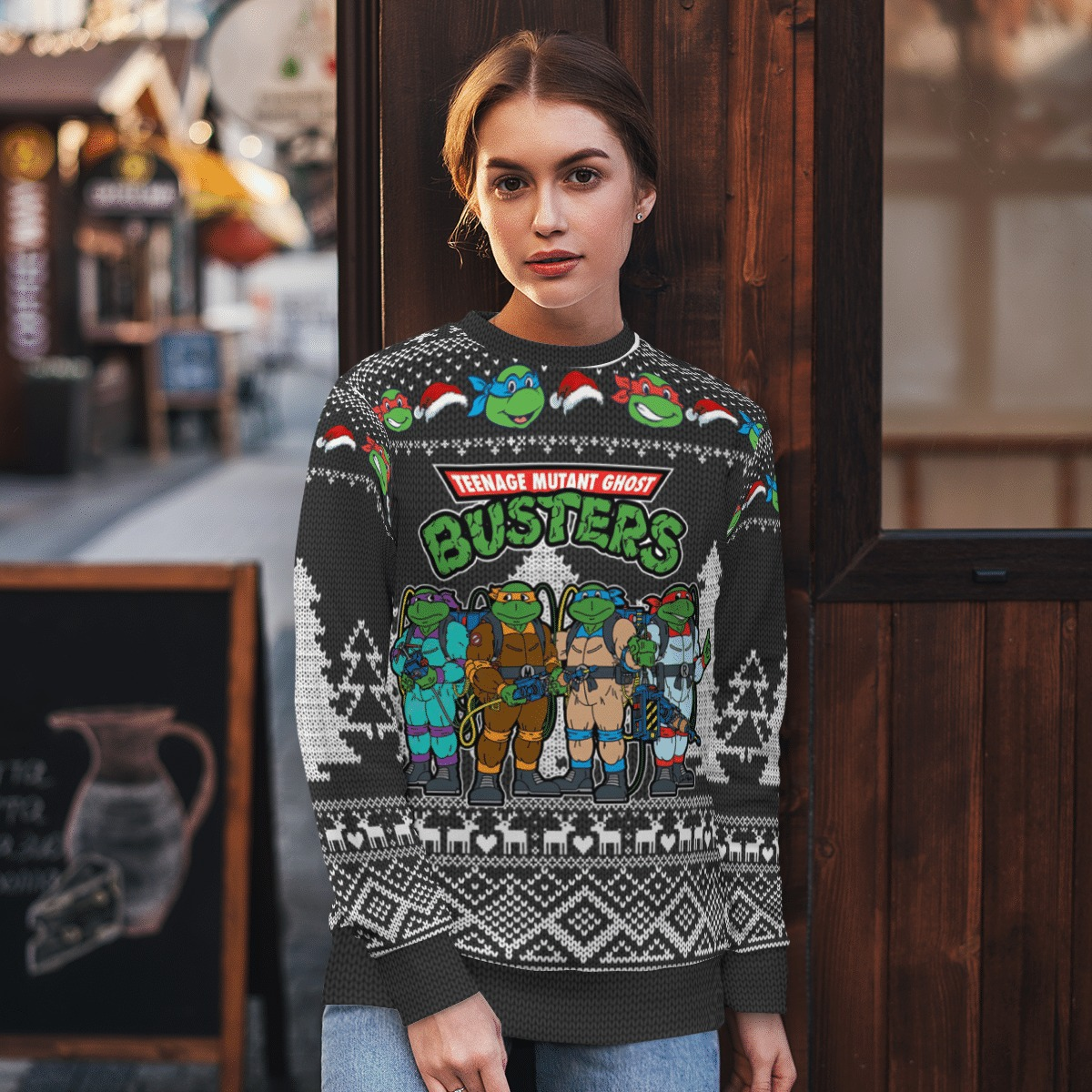 Teenage mutant Ghost Busters ugly sweater 2