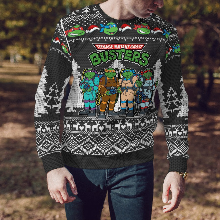 Teenage mutant Ghost Busters ugly sweater