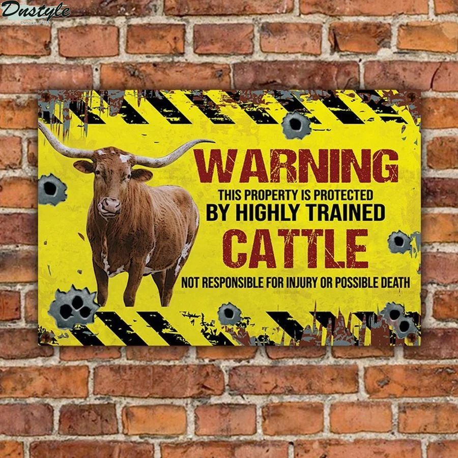 Texas Longhorn warning this property is protected by highly trained cattle metal sign 1