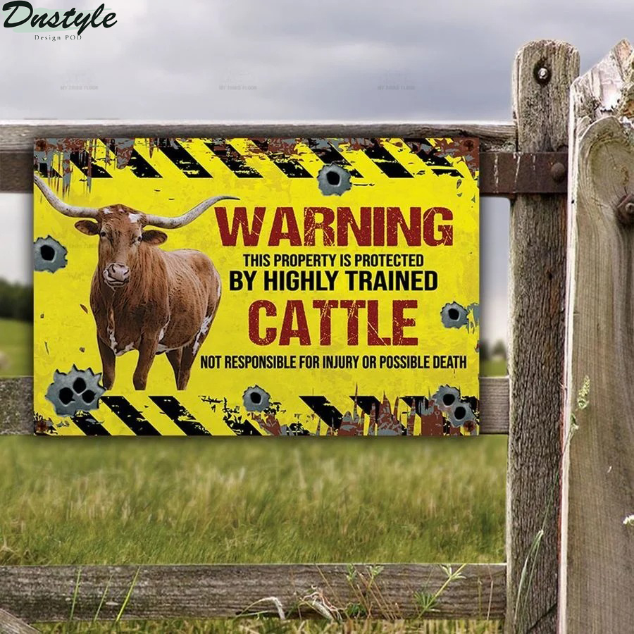 Texas Longhorn warning this property is protected by highly trained cattle metal sign