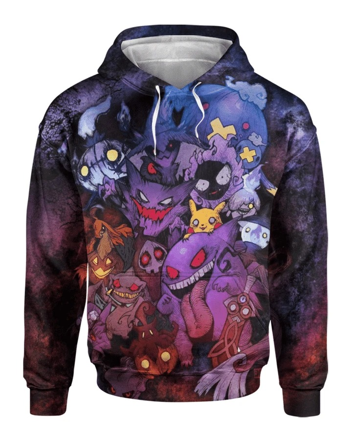 The ghost squad pokemon 3d full printed hoodie 3