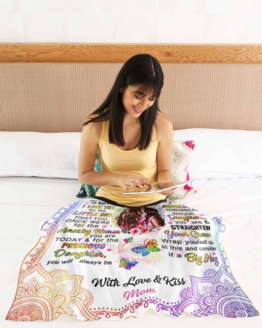 To my daughter with love and kiss mom blanket 2