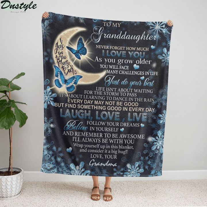 To my granddaughter I love you to the moon and back love your grandma fleece blanket
