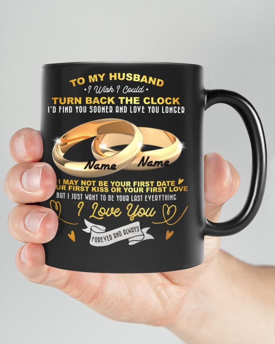 To my husband I wish I could turn back the clock couple ring peronalized mug 1