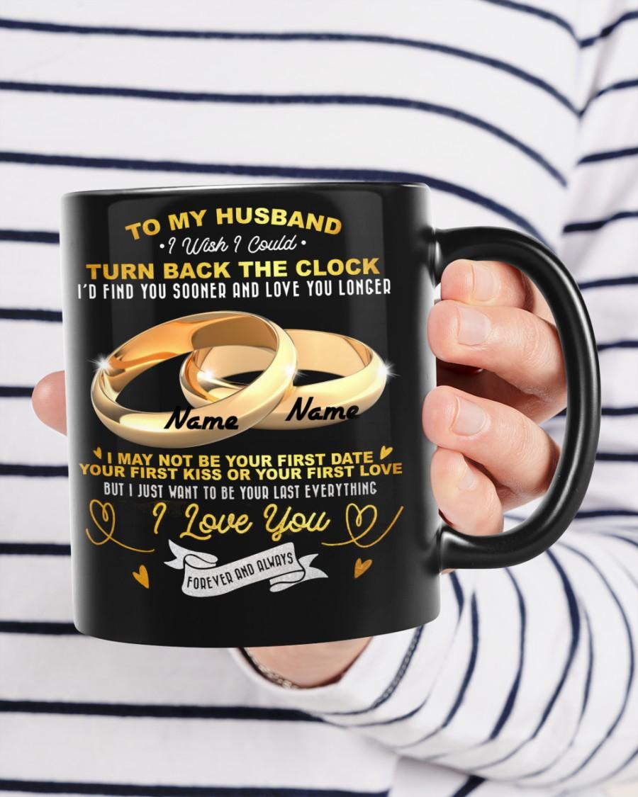 To my husband I wish I could turn back the clock couple ring peronalized mug 2