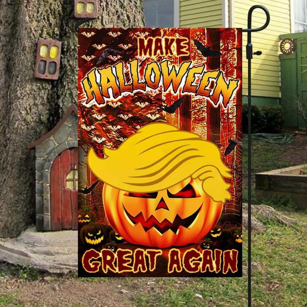 Trump make halloween great again halloween pumpkin flag 1