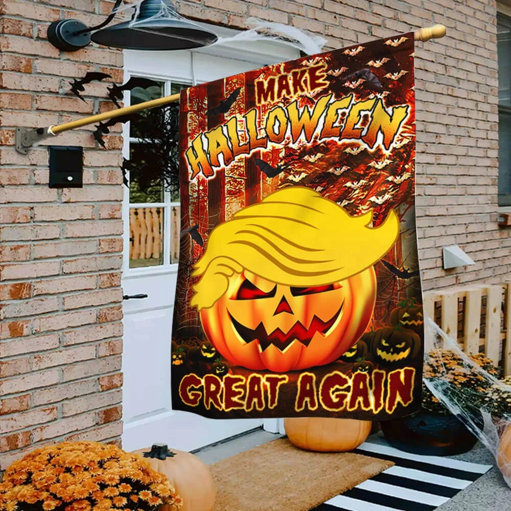 Trump make halloween great again halloween pumpkin flag 3
