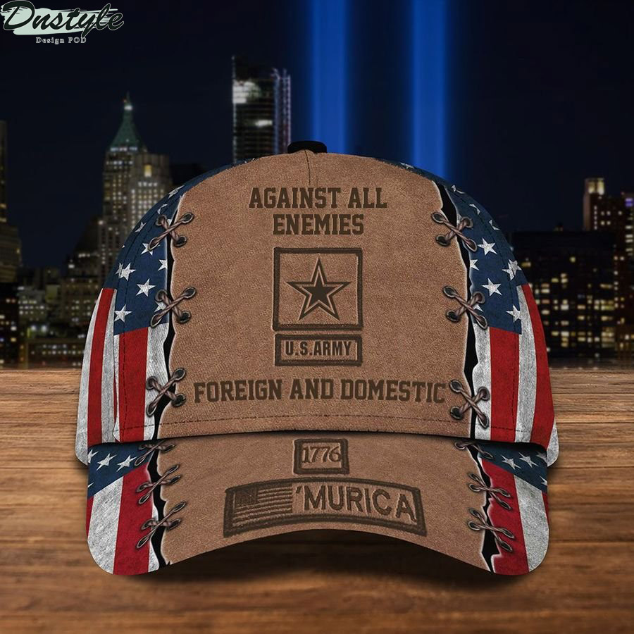 US Army 1776 'Murica Against All Enemies Foreign And Domestic USA Flag Hat
