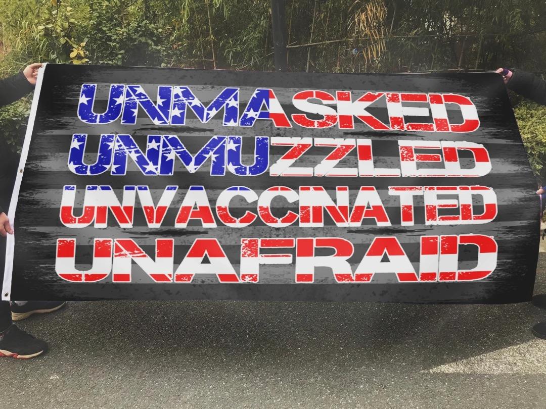 Unmasked unmuzzled unvaccinated unafraid flag 2