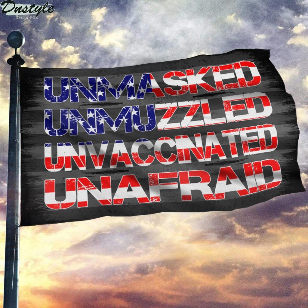 Unmasked unmuzzled unvaccinated unafraid flag