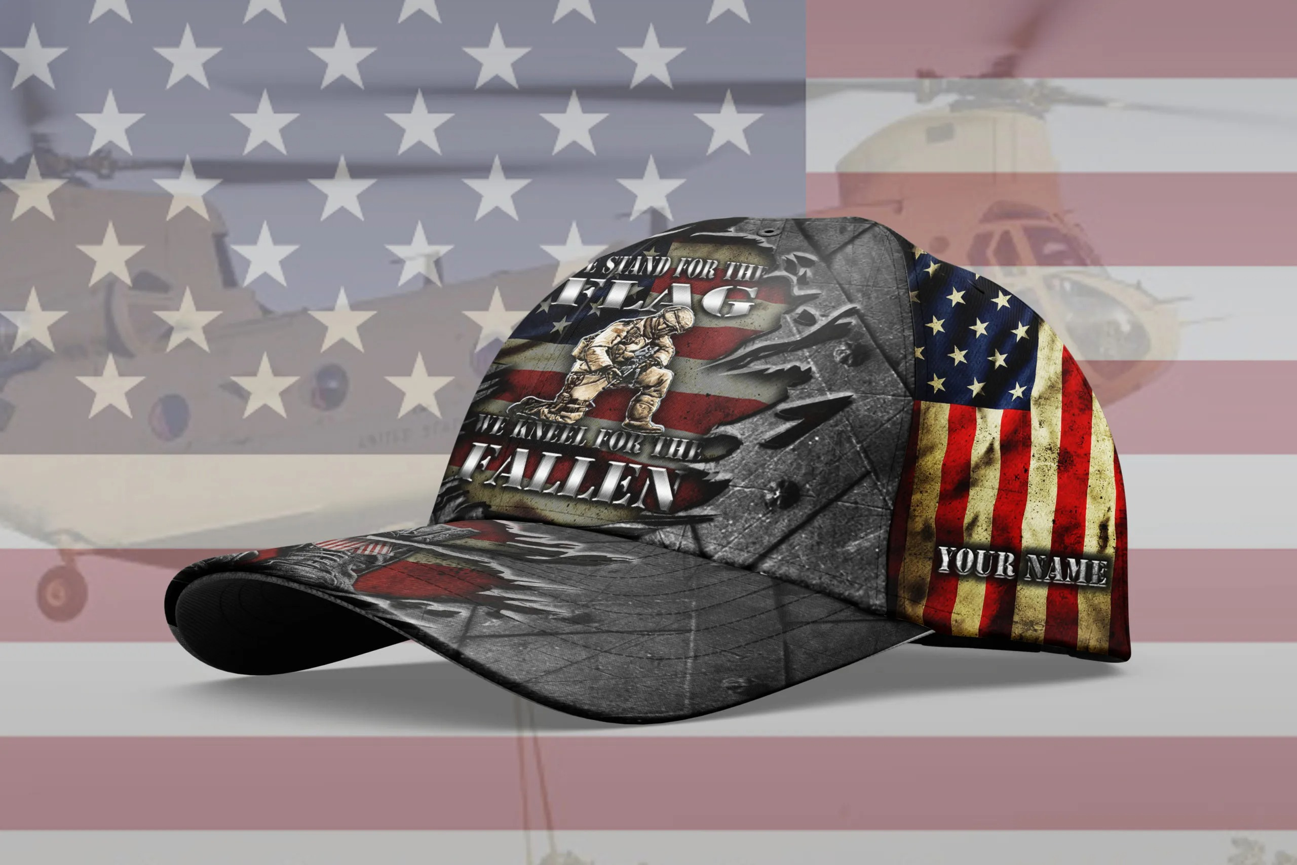 Veteran We Stand For The Flag We Kneel For The Fallen Custom Name Cap 1