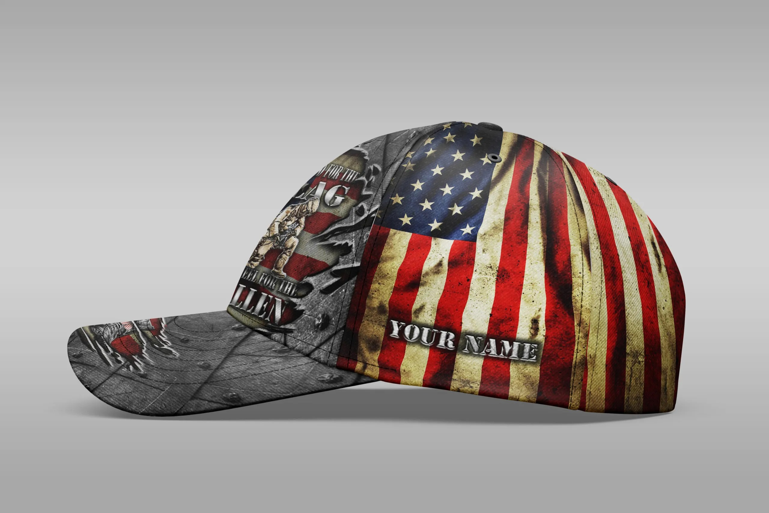 Veteran We Stand For The Flag We Kneel For The Fallen Custom Name Cap 2