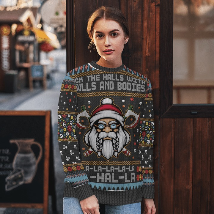 Viking deck the halls with skulls and bodies ugly sweater 1