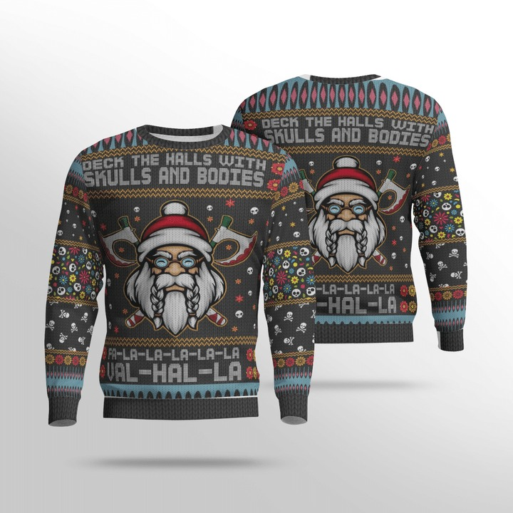 Viking deck the halls with skulls and bodies ugly sweater 2