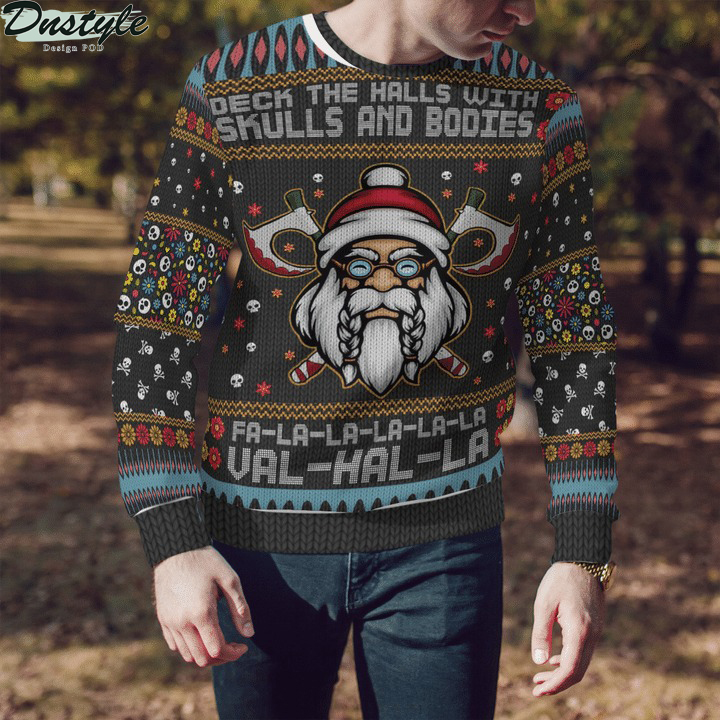 Viking deck the halls with skulls and bodies ugly sweater