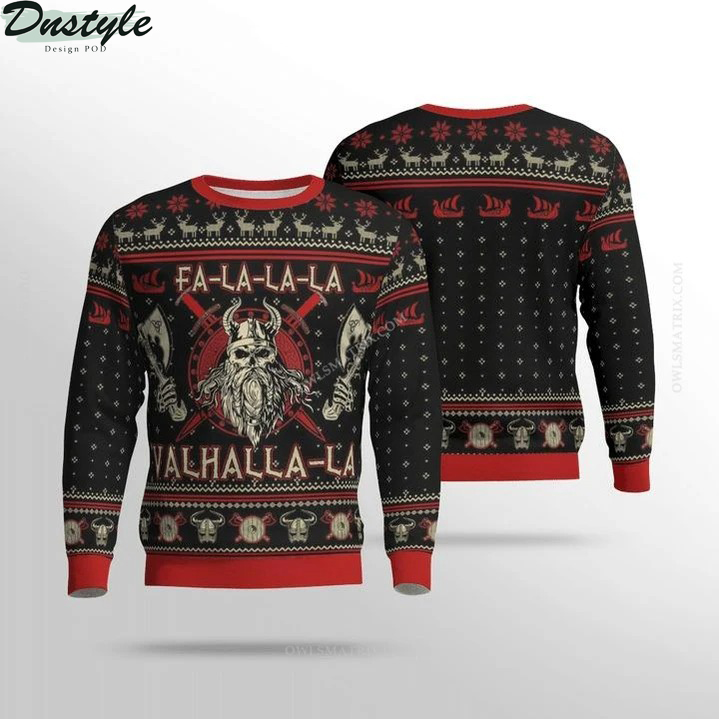 Viking valhalla black and red ugly sweater