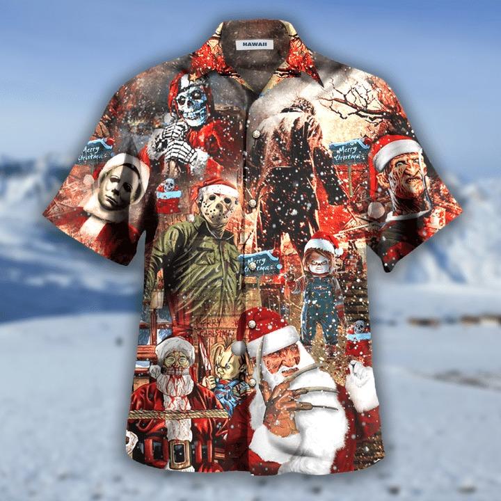 We wish you a scary christmas hawaiian shirt 1