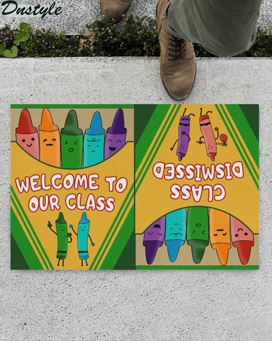 Welcome to our class dismissed crayon box doormat