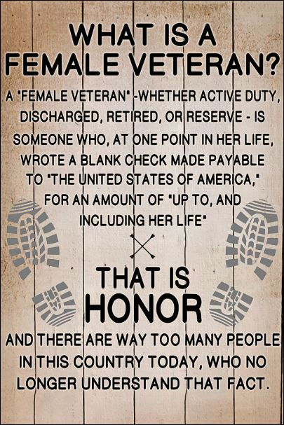 What is a female veteran poster