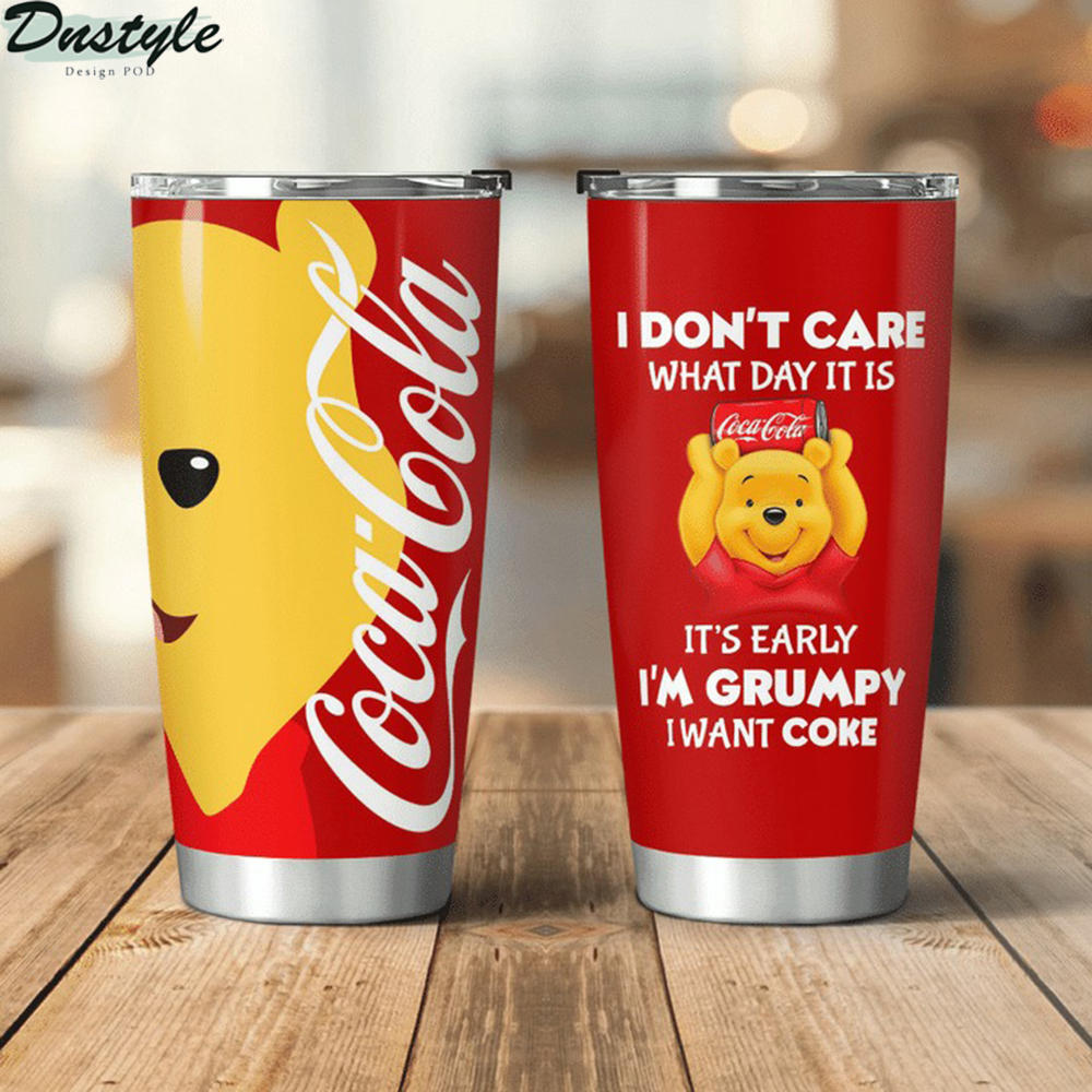 Winnie the Pooh I don't care what day it is Coca cola tumbler