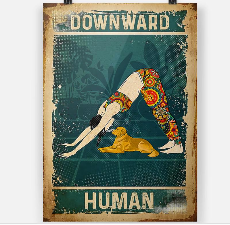 Yoga girl downward human poster